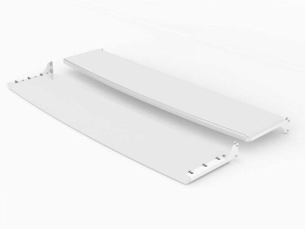 Front und Rueck-Seiten Regal in weiß für die 58 Zoll SIGNAMEDIA Digital Signage Stele, Quelle: SWEDX AB, 16353 Spånga, Schweden