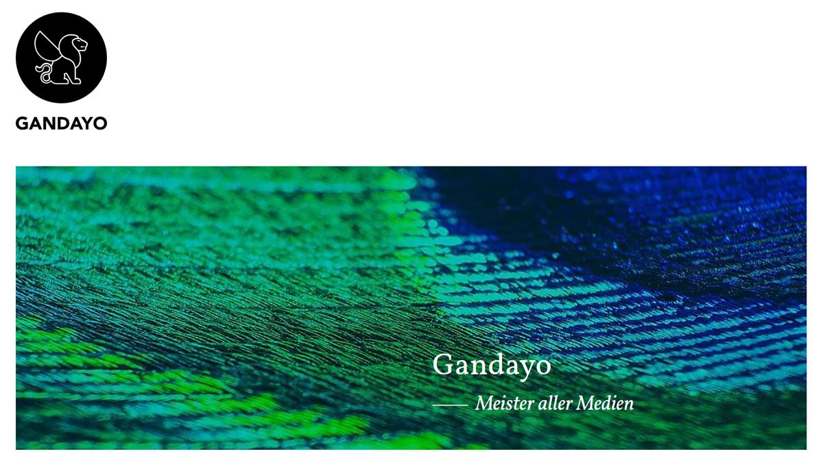 Screenshot von GANDAYO auf Seite mit Dienstleistungen für Audio-, Foto-, Video-Produktion