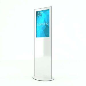 SIGNAMEDIA Digitale Infostele zur Patienten-, Besucher- und Kundeninformation in weiß